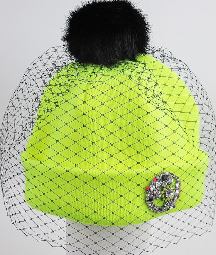 Veiled Beanie in Neon with signature brooch