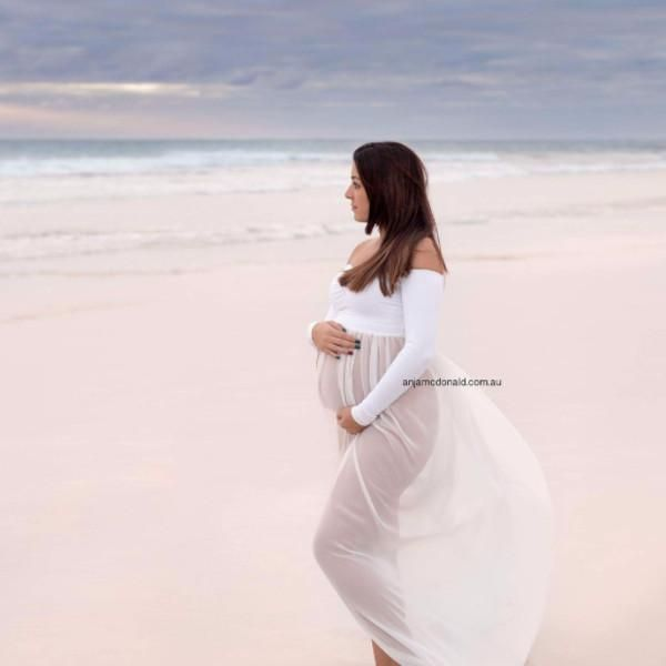 Maternity Dress or Gown for Pregnancy Photoshoot. Made to order. Amazing pregnant maternity photo - Sheer Bottom