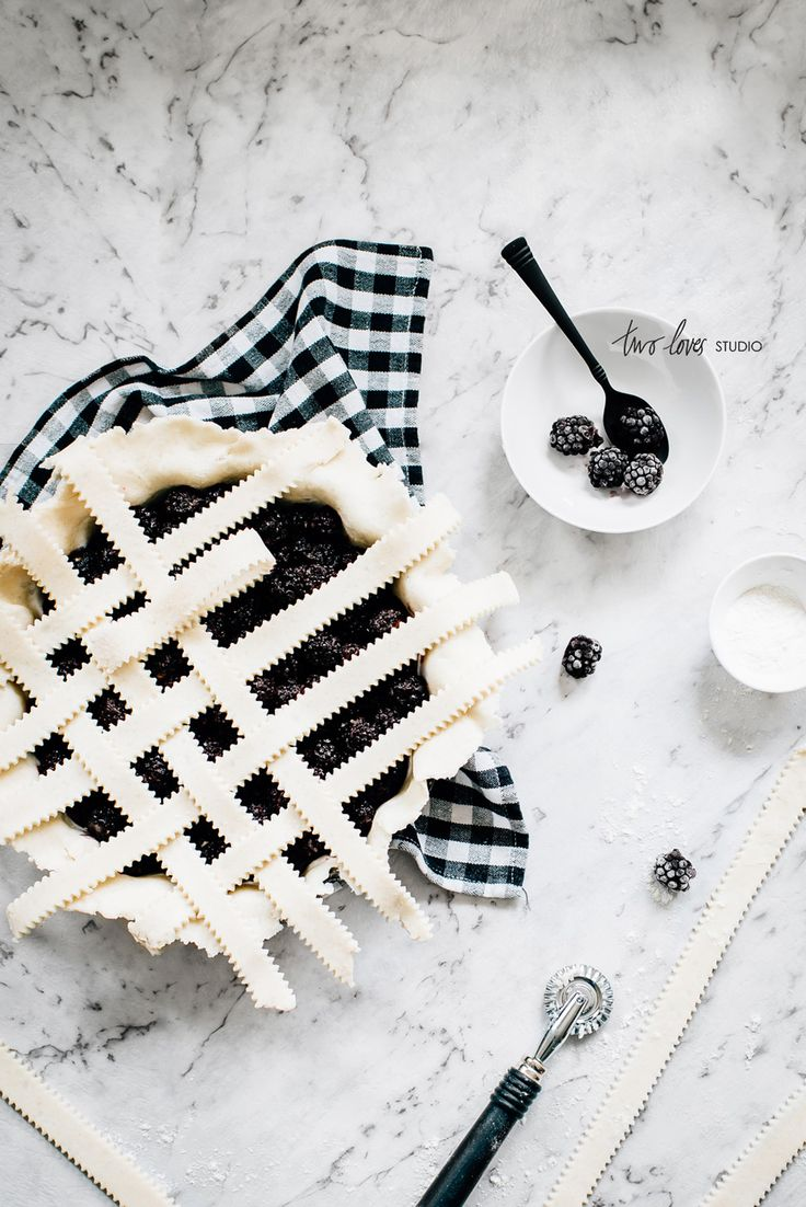 Two Loves Studio Black and White Food Photography Blackberry Pie ❥