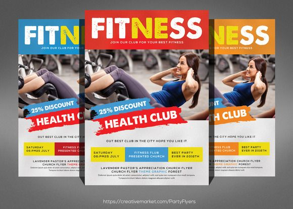Fitness Flyer Template by Party Flyers on @creativemarket - fitness flyer