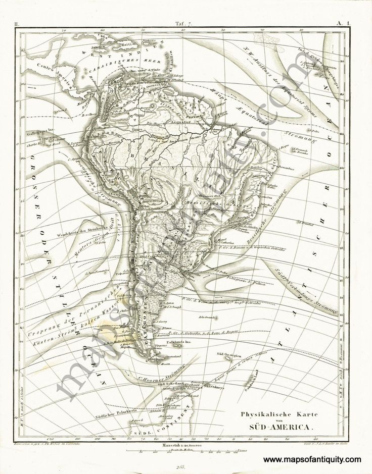 Antique (1851) Topographical Map of South America, Written in German. Available on our website and in our shop.