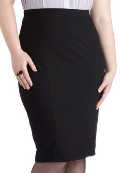 Style Essential Skirt in Black - Plus Size. Whether youre going for sleek and sophisticated or cute and casual, this black pencil skirt is a fundamental part of building your outfit. #black #modcloth