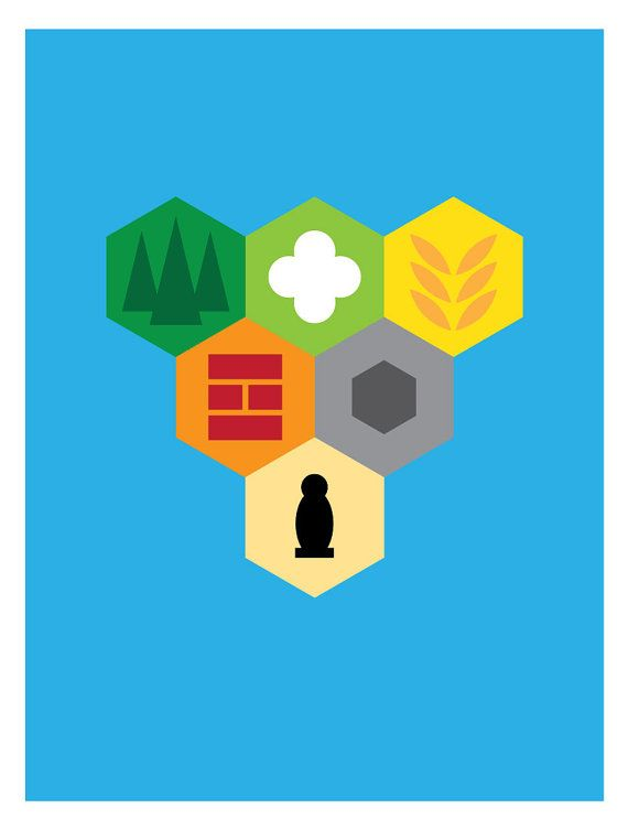 Minimalist poster inspired by one of my favorite tabletop board games, Settlers of Catan. 18x24 including the 1 white border. 100lb matte stock.