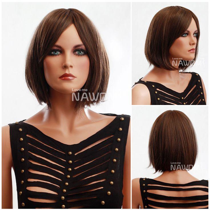 Бесплатная Доставка горячей продажи Боб популярные женщины парики светло-коричневый короткие челки Парик коричневато-желтая бы вы себя чувствовали навсегда модно парики