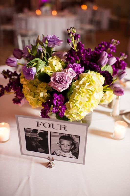 wedding reception centerpiece in shades of lavender and purple includes purple stock, white hydrangea, purple lisianthus, lavender roses and lavender tulips.