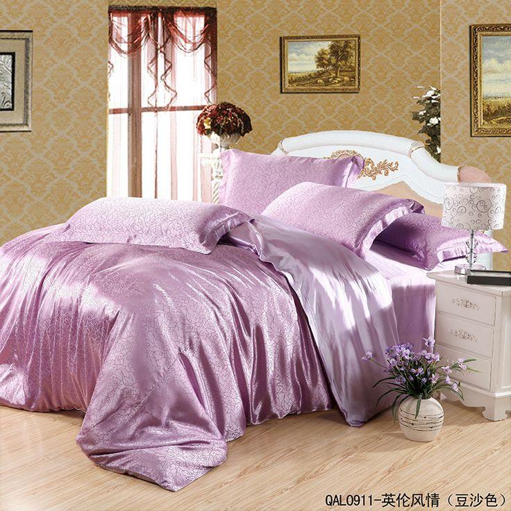 England Style Purple Bedding Silk Bedding