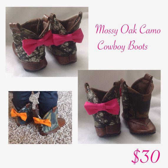 Baby Cowboy Boots Mossy Oak Camo with leather and Bow by 2Fab, $30.00
