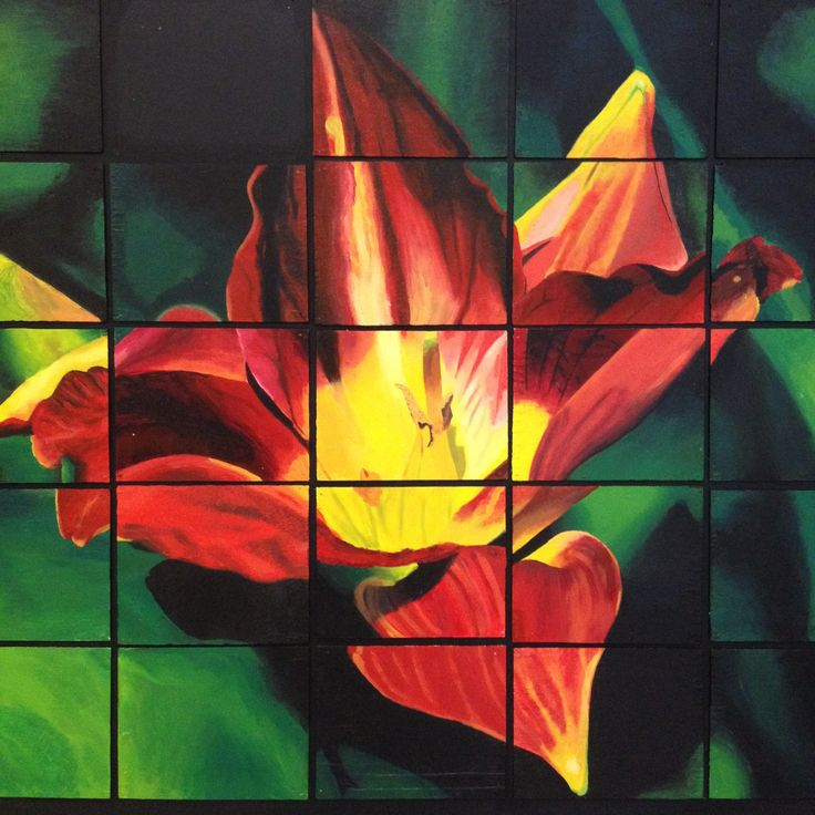 Grade 11's all drew one piece of this large mosaic flower. Dimensions are 5'x5'.