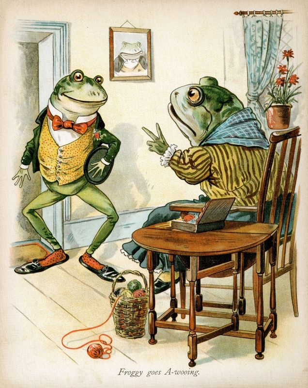 Froggy would a-wooing go (1880) http://www.pinterest.com/cecilieodesign/vintage-illustration-art/