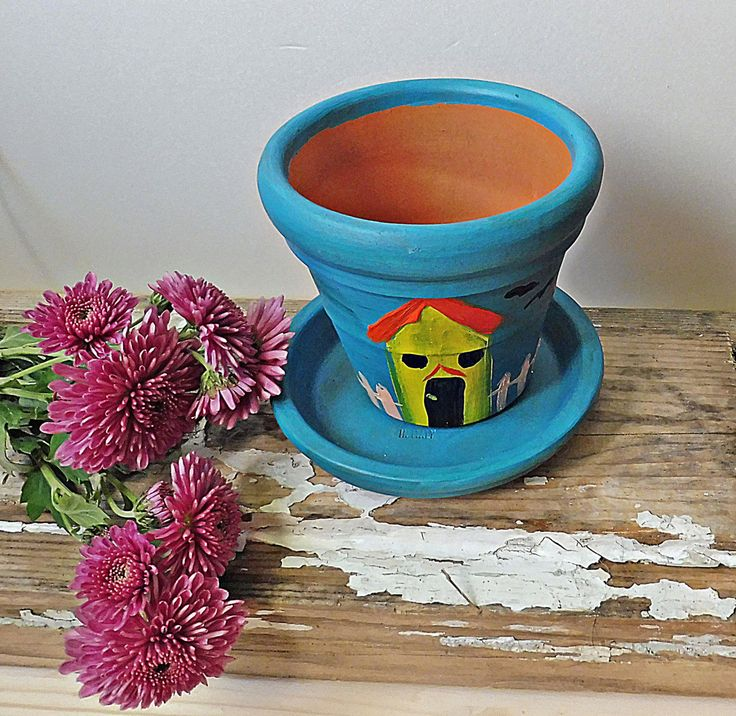 Planter Gifts | Hand Painted Pots | Blue  Painted Clay Pots | Small Blue Pottery | Small Houses Pots | Holiday Gifts | Blue Terracotta Pots by PaCoShaBe on Etsy