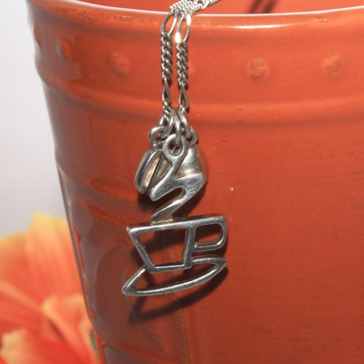 Sterling Silver Coffee Pendant Necklace