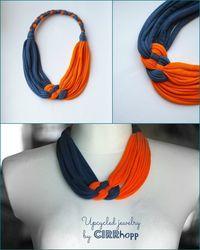 Szürke/narancs textil, kelta csomós nyaklánc, Ékszer, óra, Nyaklánc, Meska