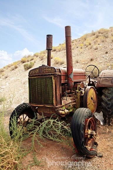 Industrial Decor Vintage Tractor Photograph - Antique Rust Red Green Yellow Farm Tractor Decor - 8x10 Fine Art Photo Print - Days Gone By