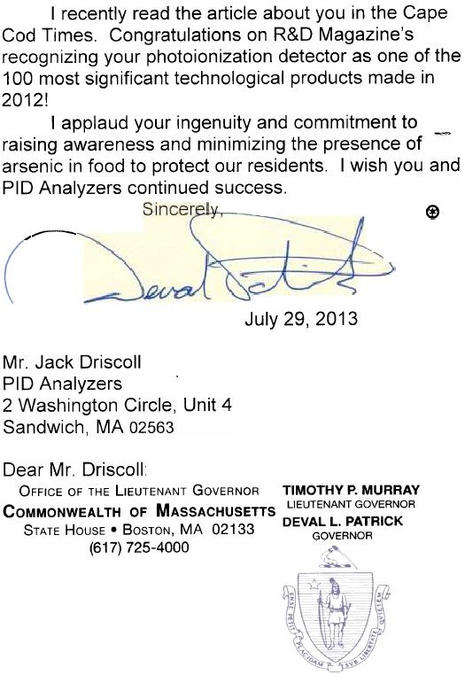 Letter of Congratulations to PID Analyzers from MA Governor Deval Patrick