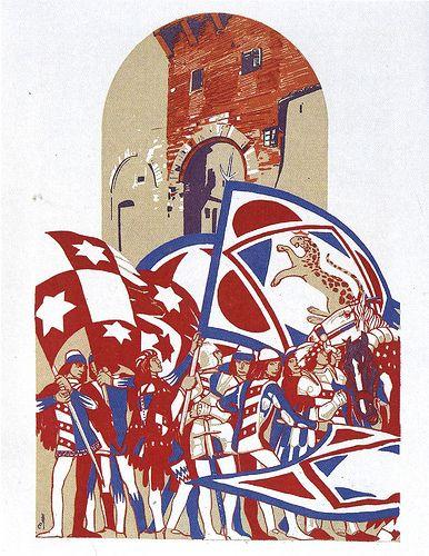Contrada della Pantera - Siena - Duilio Cambellotti 1932   #TuscanyAgriturismoGiratola