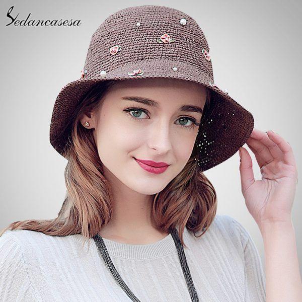 a0baf36c0fb01 Summer Coffee Hat For Women Dress Handmade Madagascar Raffia Straw Hat  Beach Sun Cap With Flower Decoration SW105114