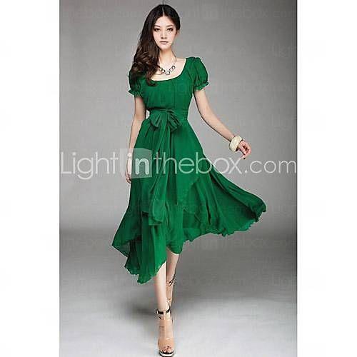 [USD $ 19.99] Women's Round Puff Sleeve Aysm Hem Chiffon Midi Dress