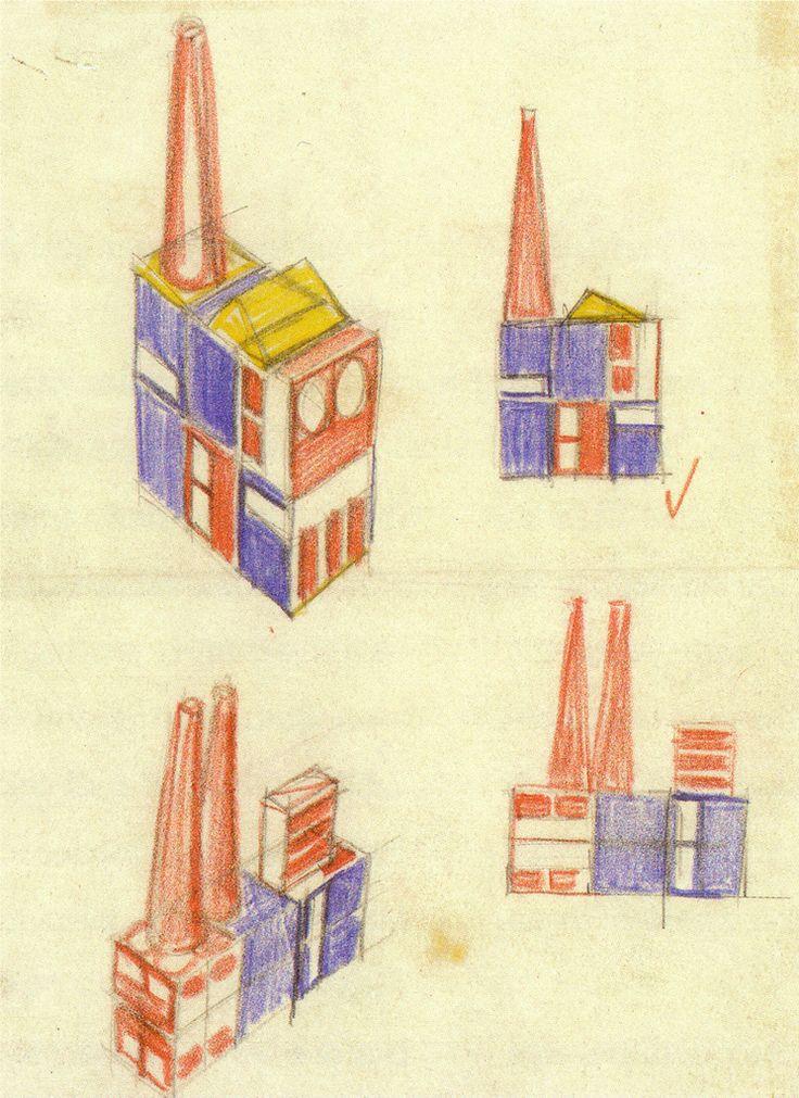 Kit sketches, Build the Town building block set by Ladislav Sutnar. Czechoslovakia. 1942-3.