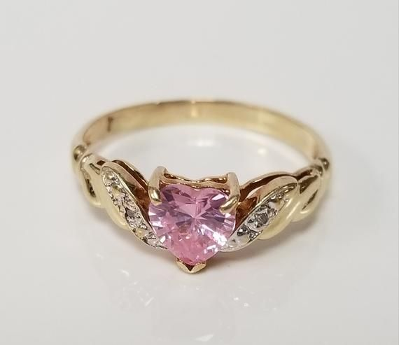 Size 7 Estate 10k Yellow Gold Pink Ice 50ct Heart Diamond Sappire Ring Band Promise Gs1979 1 Diamond Heart Ring Diamond Heart Sweet Ring