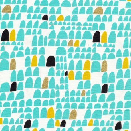 Voile de coton bio - Revelry portal Cloud9 fabrics. Tissu bio GOTS vente par mètre. Une sélection de tissus bio disponible en Suisse