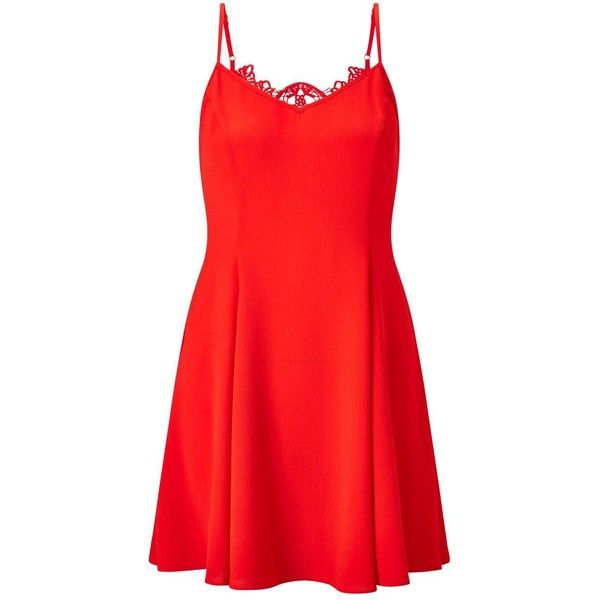 Miss Selfridge PETITE Red Lace Back Dress ($26) ❤ liked on Polyvore featuring dresses, petite, red, sexy cocktail dresses, red cocktail dress, sexy dresses, miss selfridge and petite dresses