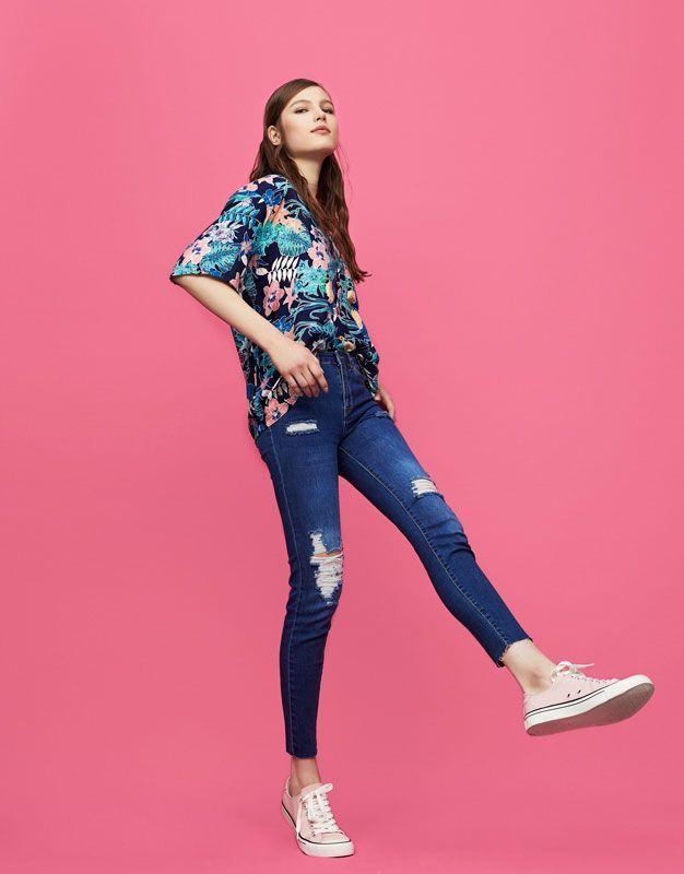 Pull&Bear - woman - new - ripped skinny fit jeans - dark blue - 05685324-V2017