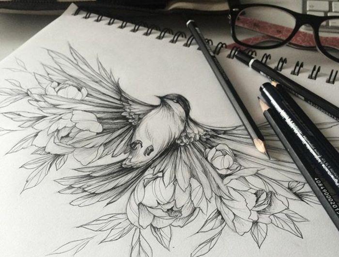 Modèle tatouage cage oiseau tatouage infini oiseau dessin fleurs vol cool idée