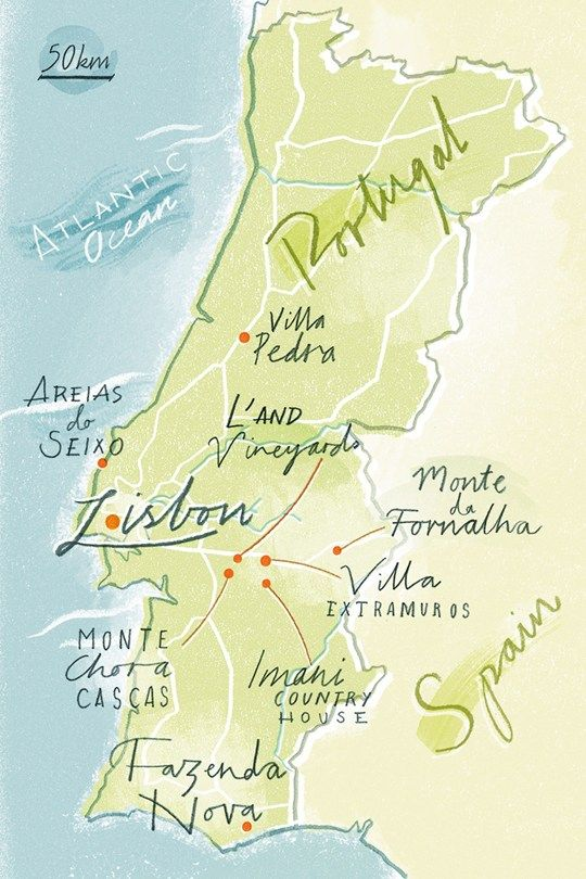 Map of Portugal with some hotels - Conde Nast Traveller - August 2014