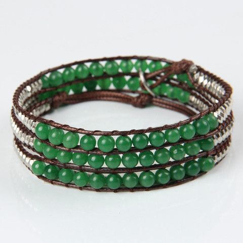 Green and Silver beads Wraps Bracelet