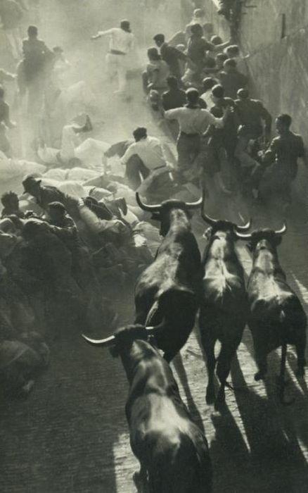 Spain. Encierro de Sanfermines  (the running of the bulls), c. 1950, Pamplona