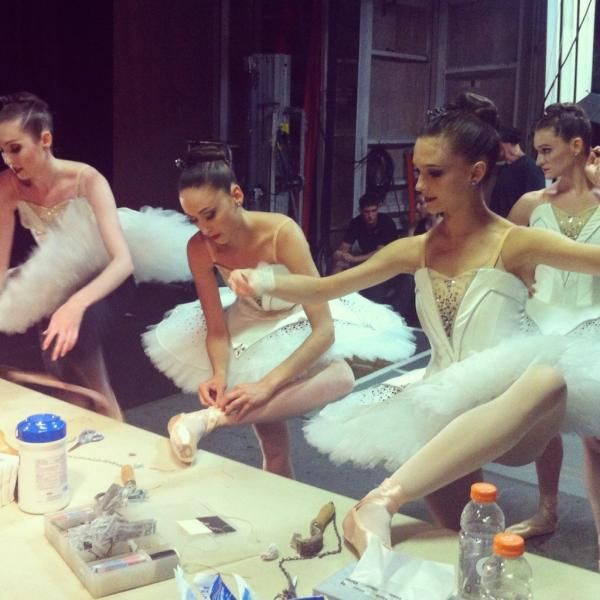 """NYC Ballet """"Symphony in C"""" - to show my students even professional dancers sew their ribbons for a show!"""