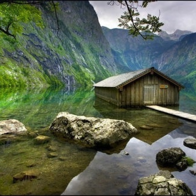 Germany Berchtesgaden National Park. Old fishing hut.