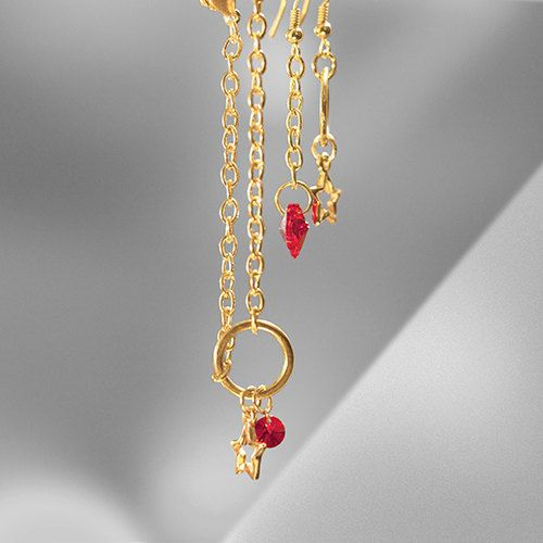 "Set ""Love Hot Stars!"" of Gold Chain bracelet and earrings with red heart Swarovski crystals and 2 stars with red or gold package by MyCosmicBead on Etsy"