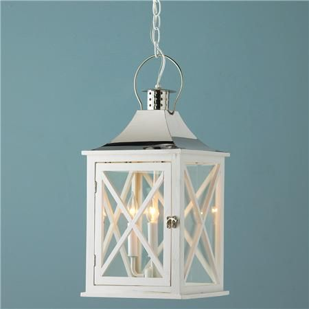Hamptons Wooden Hanging Lantern Light In White And