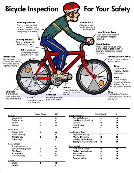 Bicycle Inspection - For your safety.  Great idea to use for a Cub Scout Bike Rodeo!