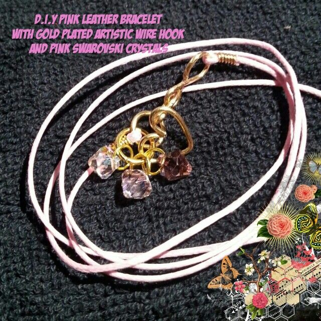 D.I.Y Pink Leather Bracelet With Gold Plated Artistic Wire Hook  and Pink Swarovski Crystals