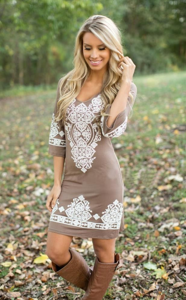 love this boho chic/bohemiam hippy style dress paired with boots. the color is perfect