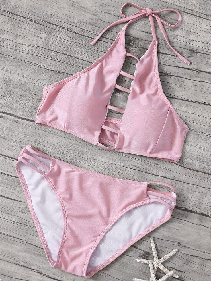 Hollow Out High Neck Pink Bikini Set