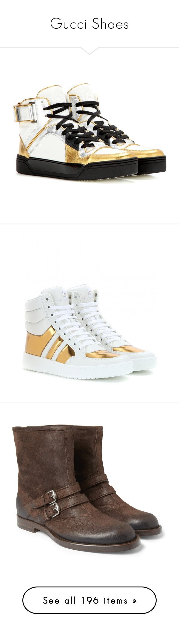 """Gucci Shoes"" by bianca-cazacu ❤ liked on Polyvore featuring shoes, sneakers, white, white leather sneakers, white hi top sneakers, white leather shoes, leather high tops, white sneakers, sapatos and gucci high tops"