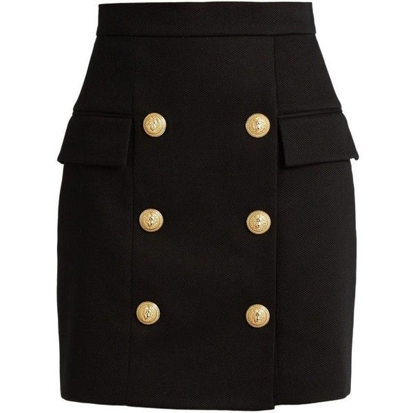 Balmain Black Heavy Cotton Button Front Mini Skirt (50.790 RUB) ❤ liked on Polyvore featuring skirts, mini skirts, high rise skirts, balmain, zipper skirt, high waisted short skirts and zip skirt