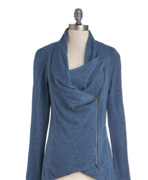 Sweet Rain Alan Cowl Asymmetrical  Jacket-Love the blue!