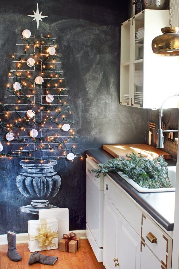 LOVE the chalkboard wall tree!