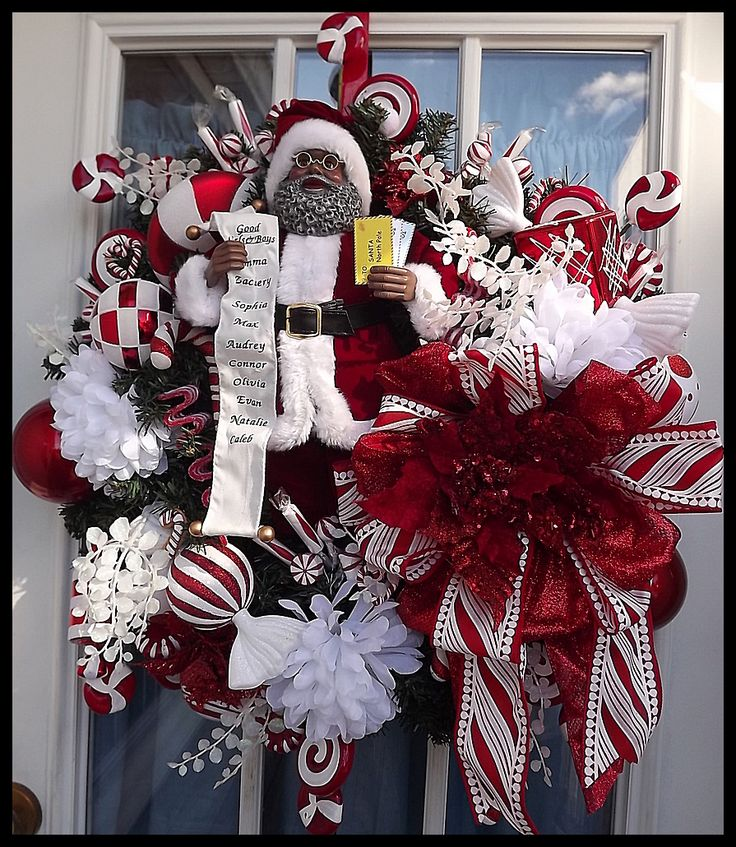 u0026quot mr  claus u0026quot  luxury christmas wreath for front door gorgeous african american santa wreath loaded