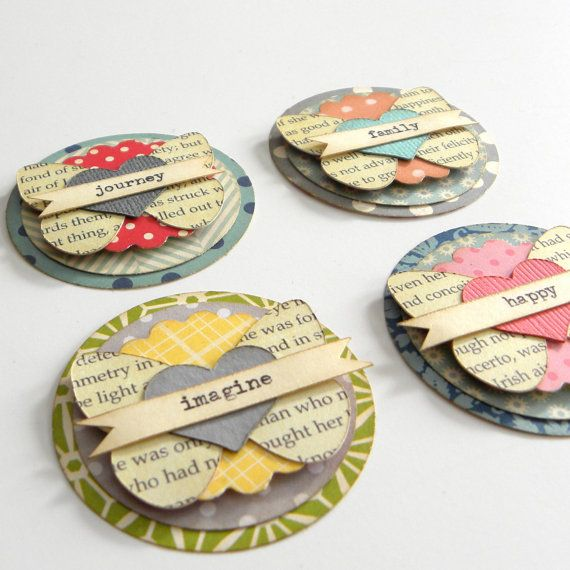 Dimensional, Circular, Butterfly, Heart,  Paper Scrapbooking Embellishment Layered  Set of 4