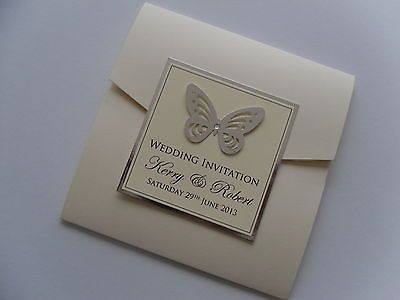 Handmade Personalised Pocket Fold Butterfly Wedding Invitation Sample U0026  RSVP In Home, Furniture U0026 DIY