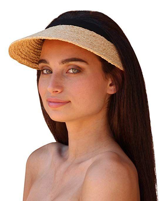 Palms & Sand Women's Raffia Sun Visor (Natural) at Amazon