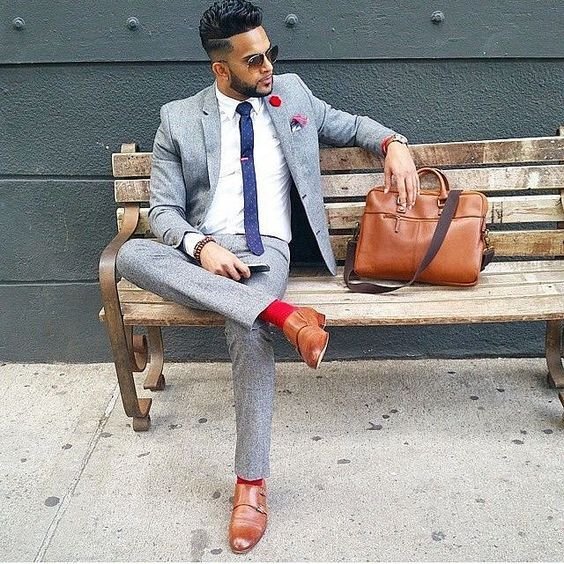 Men's Grey Wool #Suit, White Dress #Shirt, Brown Leather Double Monks, Brown Leather #Briefcase.  Men's Outfits, Outfits for men, Men's Fashion, Men Fashion, Men Clothing