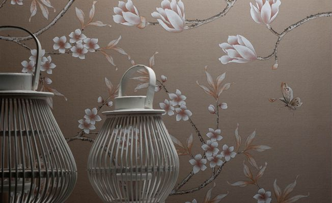 Elegant and delicate design with various flora and butterflies, Misha handmade wallpaper