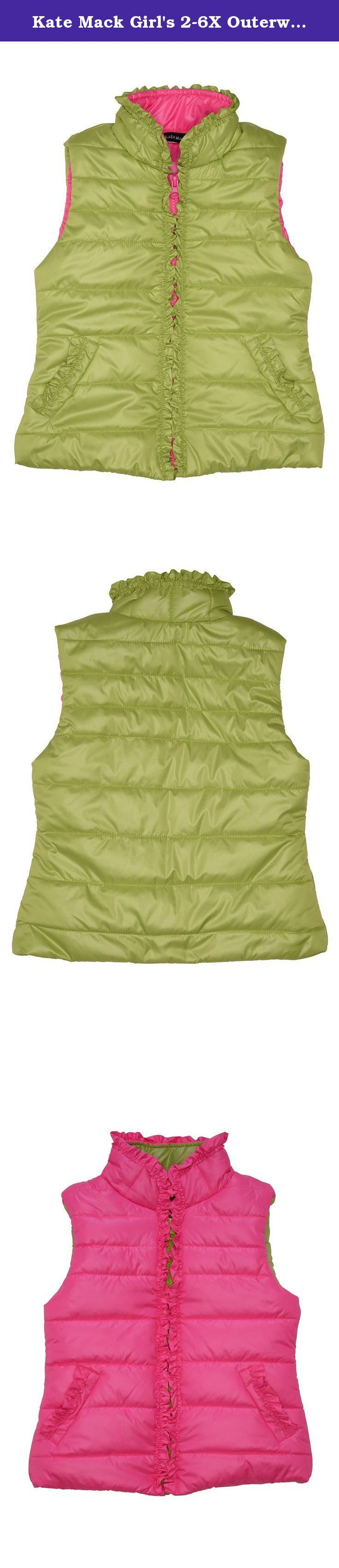 Kate Mack Girl's 2-6X Outerwear Essentials Polyfill Vest - Size 6X, Green. Girly ruffle trim adds a bit of personality to this adorable polyfill vest.