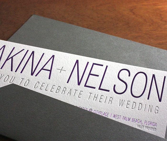 modern letterpress wedding invitation by invitations by ajalon - Lakina | Invitations By Ajalon | http://invitationsbyajalon.com/
